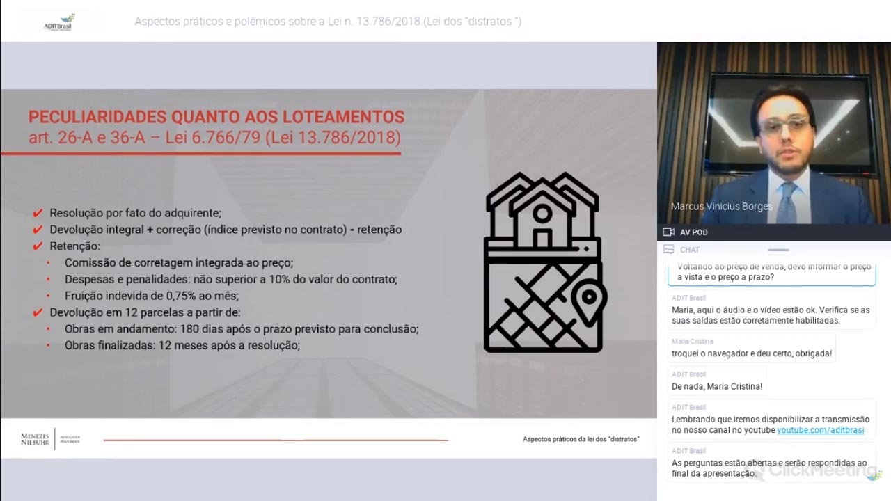 Aspectos práticos e polêmicos da Lei 13. 786/2018, a Lei dos distratos - Marcus Vinicius